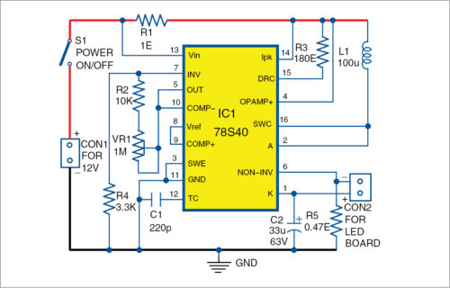 Circuit diagram of battery-powered night lamp using an old LED bulb