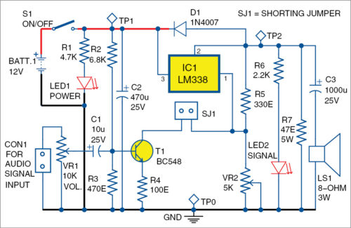Circuit diagram of the voltage regulator as audio amplifier
