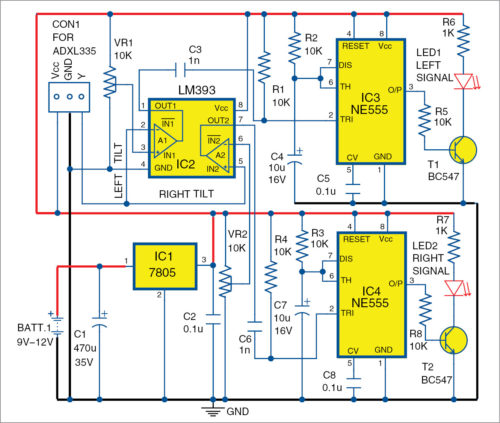 Circuit diagram of bike turning signal system - Bike turn indicator