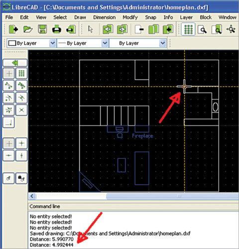 Measurements in LibreCAD