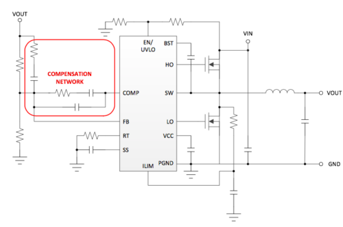 Schematic of a buck converter with external compensation