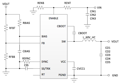 Schematic of a buck converter with simple internal compensation