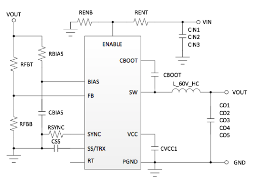 Schematic of buck converter with simple internal compensation.