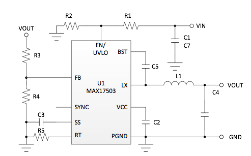 Fig. 3: Schematic shows a buck converter with smart, wide-bandwidth internal compensation