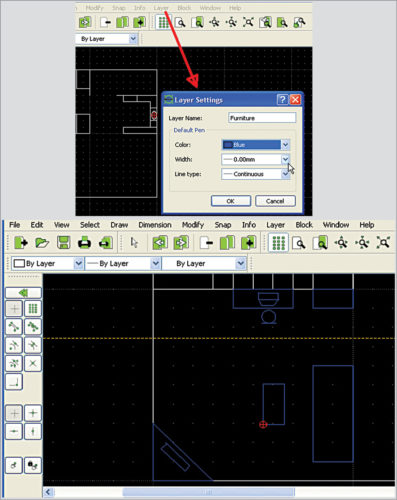 Setting up a layer in LibreCAD