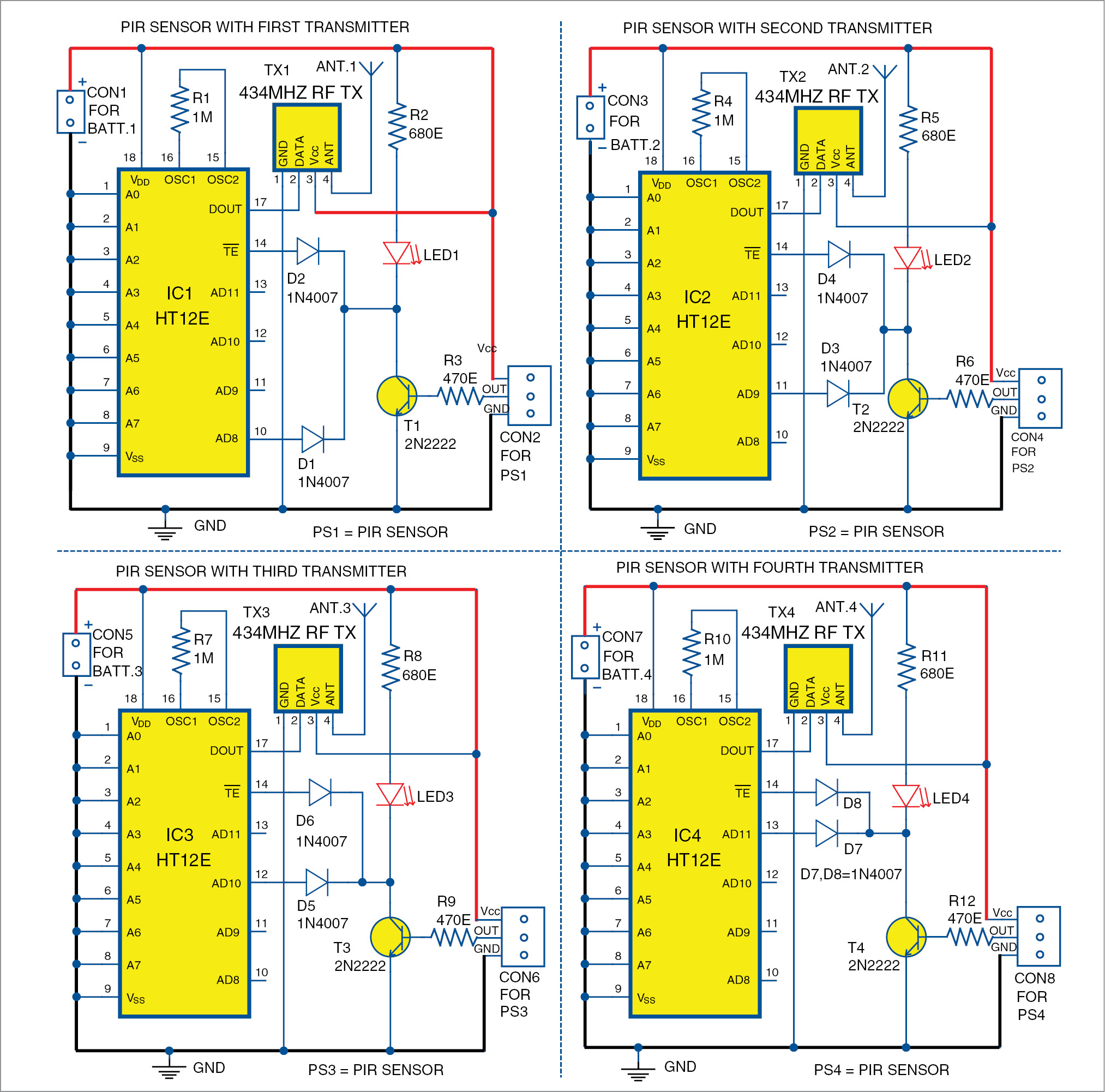 The four transmitter circuits