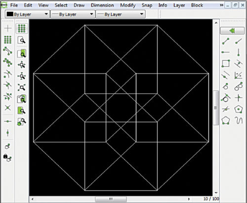 Use of different line tools in LibreCAD