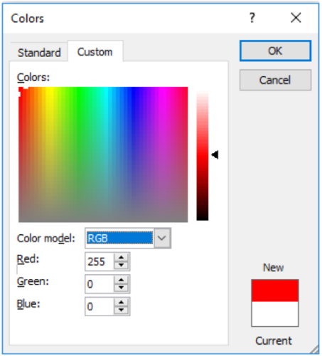 Example Color Pallete for Pure Red Colour