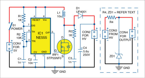 Circuit diagram of high voltage generator for microcontroller projects