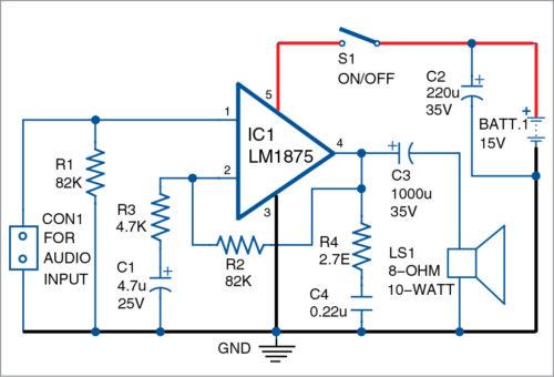 Circuit diagram of the simple 10-watt audio amplifier using LM1875
