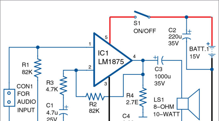 Circuit for 10-Watt Audio Amplifier Using LM1875