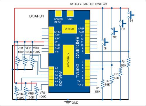Circuit diagram for graphical data display with Arduino and HTML5