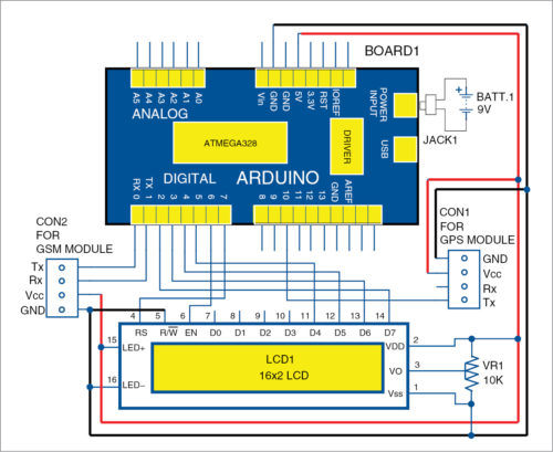 Circuit diagram of GPS- and GSM-based vehicle tracking system