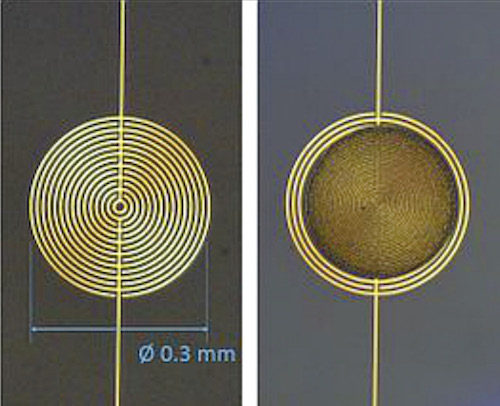 Circular interdigitated electrodes with (l) and without (r) a gold nanoparticle chemi-resistor film