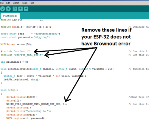 Remove indicated lines if your code does not have any Brownout error