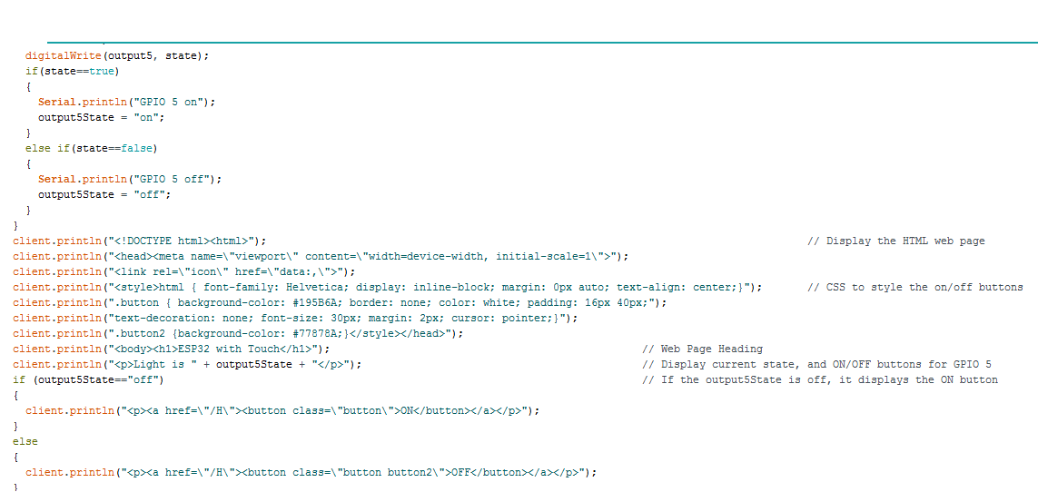 HTML page in code