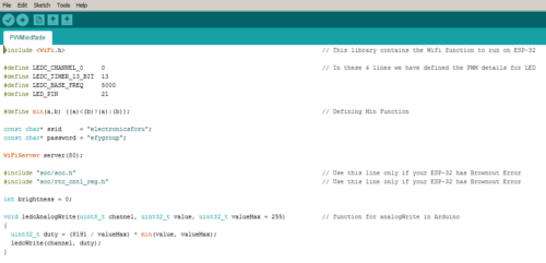 Defining values in the code