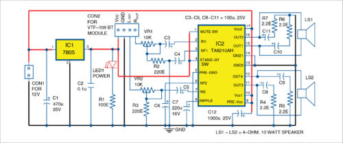 Circuit diagram of 2-channel wireless Bluetooth audio amplifier