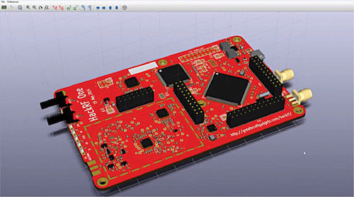 3D view of PCB layout on KiCad's 3D Viewer (Credit: kicad-pcb.org)
