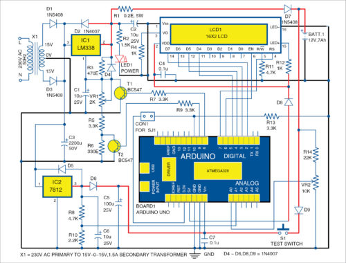 Circuit diagram of automatic battery charger