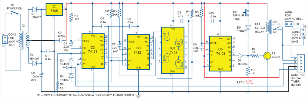 Circuit diagram of programmable automatic bell system