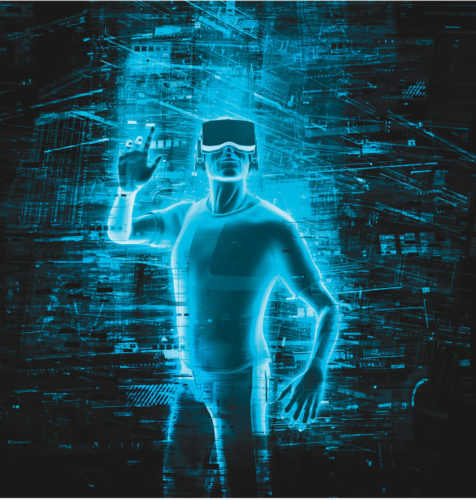 3D rendering of man wearing virtual reality glasses surrounded by virtual data