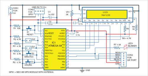 Circuit diagram of low-cost GPS clock