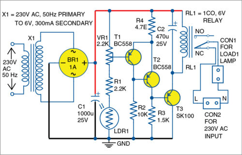 Circuit diagram of light-activated switch