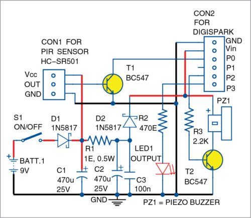 Circuit diagram of motion detector security alarm