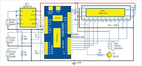 Circuit diagram of DC panel meter using Arduino