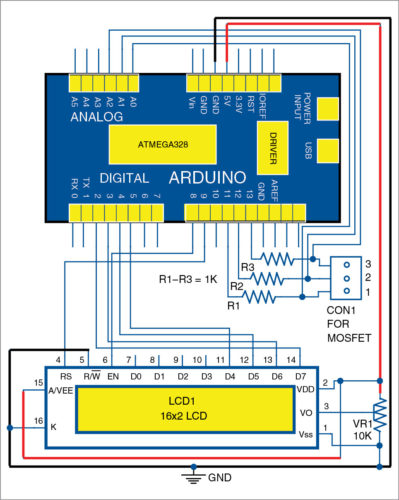 Circuit diagram of MOSFET Terminal Identification System
