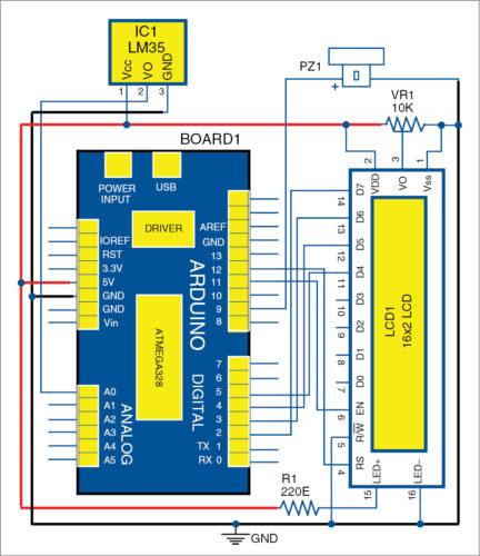 Circuit diagram of coil winding temperature recorder and alarm generator
