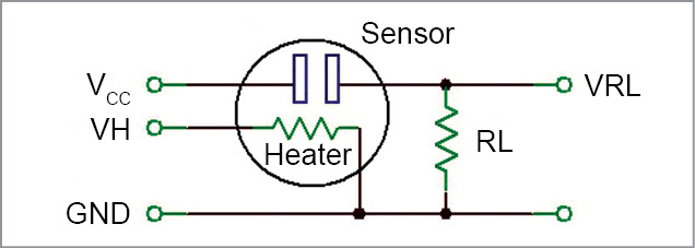 Connection diagram of MQ series of gas sensors