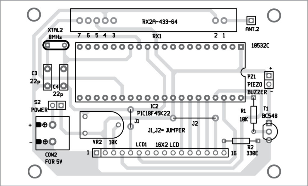 Components layout for the PCB layout of monitoring circuit