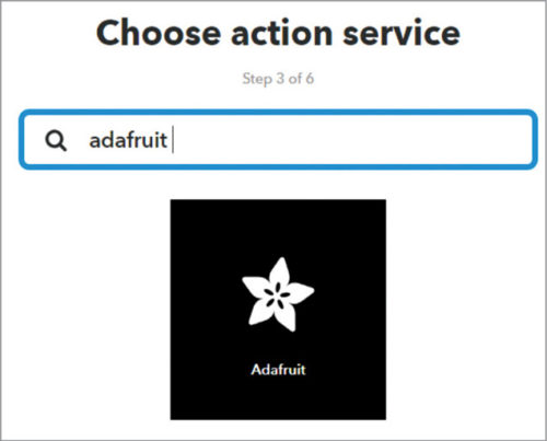 Choose Action Service as Adafruit