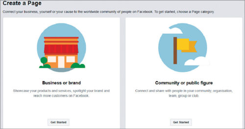 Create Facebook page (community or public figure)