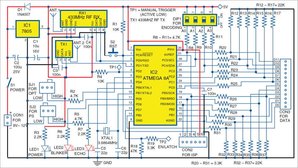 Circuit diagram of 12-bit signal transmitter and receiver