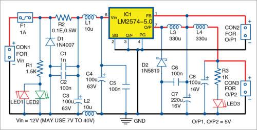 Circuit diagram of 5V DC converter