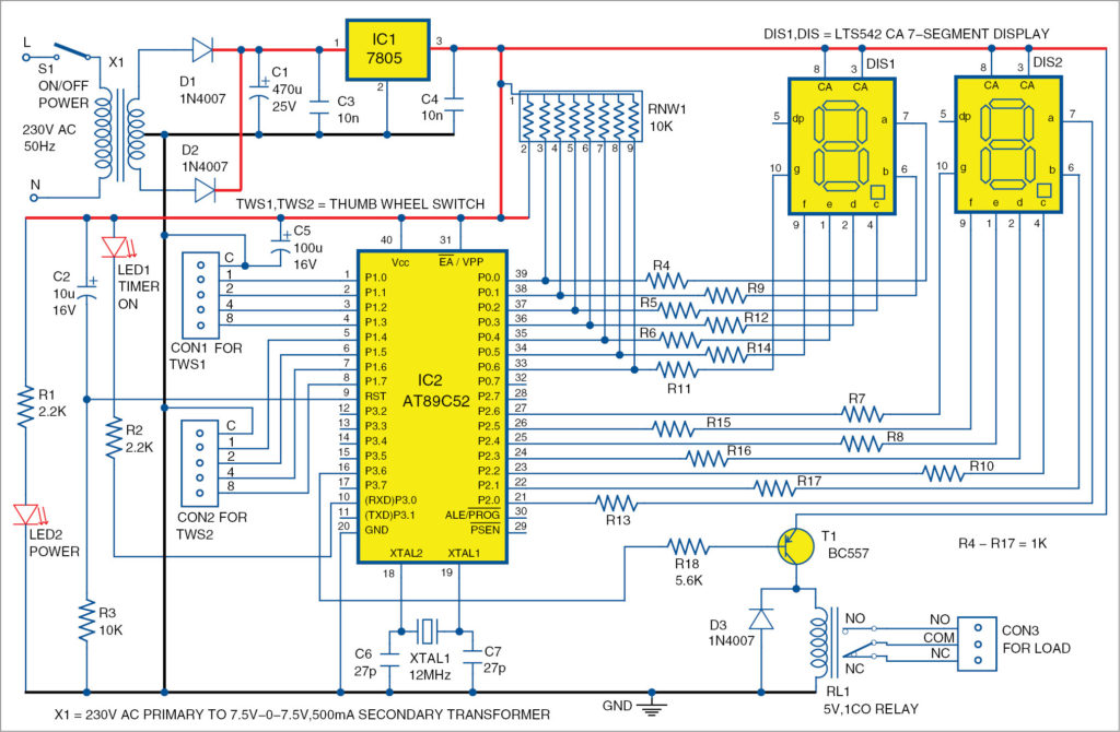 Circuit diagram of industrial timer