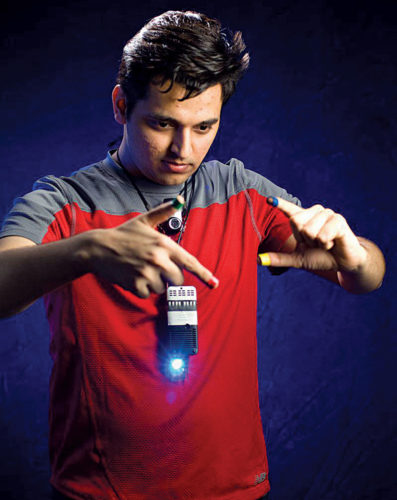 WUW, a type of SixthSense device, during demonstration (Credit: Wikipedia)