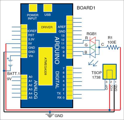 Circuit diagram of IR remote-controlled RGB bulb