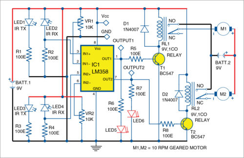 Circuit diagram of line follower robot using LM358