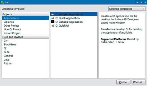 Select Qt widgets application
