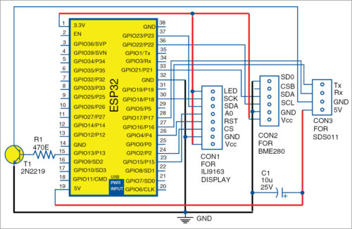 Circuit diagram of ESP32-based air quality monitoring system