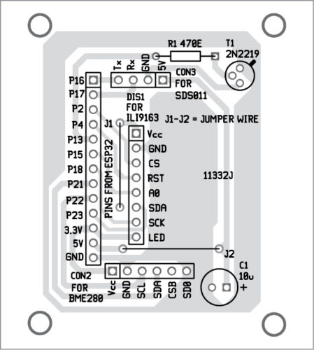 Components layout for the PCB