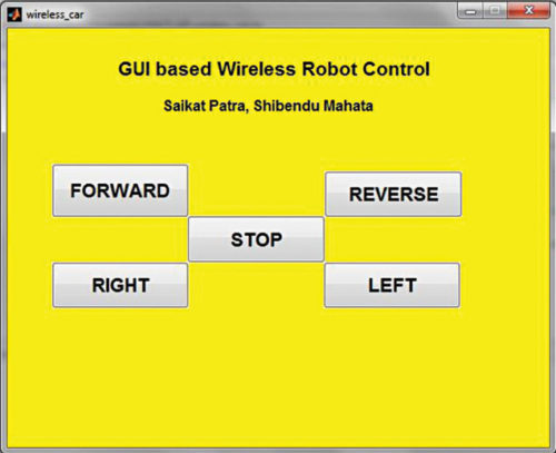 MATLAB GUI for controlling the wireless robot