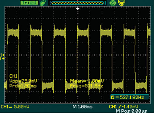 537Hz square-wave output as observed on oscilloscope