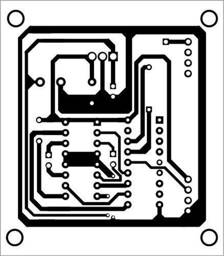 Actual-size PCB layout of receiver circuit
