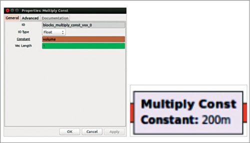 Multiply constant block for volume settings