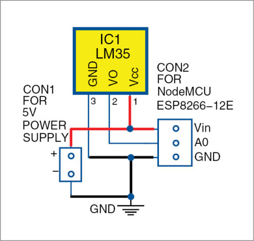 Circuit diagram of temperature monitoring system
